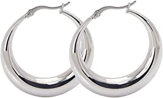 """STAYJOY Classic Sterling Silver Fashion Crescent Clicktop Hoop Earrings (35mm / 1.38"""" Round)"""