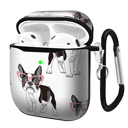 Slim Form Fitted Printing Pattern Cover Case with Carabiner Compatible with Airpods 1 and AirPods 2 / Cute Pattern with Cartoon French Bulldog in Pink Glasses