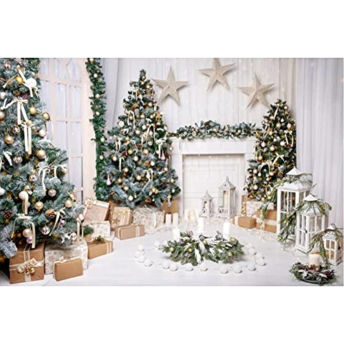 Feliz árbol de Navidad Feliz año Nuevo Chimenea Regalo Linterna Pentangle Guirnalda Arcos fotografía Fondo Estudio fotográfico-250x180cm