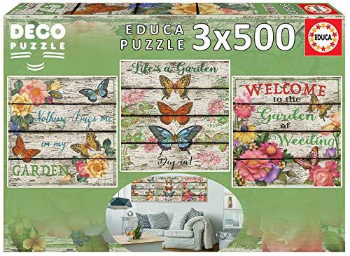 Educa Borras - Serie Deco, 3 puzzles de 500 piezas, Jardín Campestre (17965)