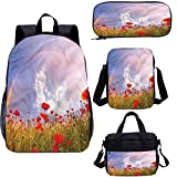 Juego de bolsas escolares para niños, de 38,1 cm, diseño de flores de amapola en el prado, para el trabajo, la escuela, los viajes, picnic