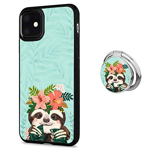 Case for iPhone 11 case Cute Sloth With Ring Holder Slim Soft and Hard Tire Shockproof Protective Phone Cover Case Slim Hybrid Shockproof Protective Case Anti-Scratch Cushion Bumper with Reinforced Co