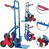 Deuba Carretilla de transporte con ruedas para escaleras carga máx 200 kg Carrito con mangos mudanzas obras