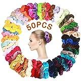 SaponinTree 50 Couleurs Cheveux Velours Élastique Chouchous, Cheveux Ties Cordes Queue De Cheval Porte Bandeaux Pour Femmes Ou Filles Accessoires De Cheveux