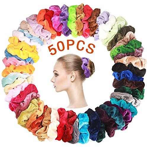 SaponinTree 50 Stück Haargummis Samt, Haar Gummibänder Samt Scrunchies Haarbänder Elastische Pferdeschwanz Inhaber Stirnbänder für Damen und Mädchen Haarschmuck