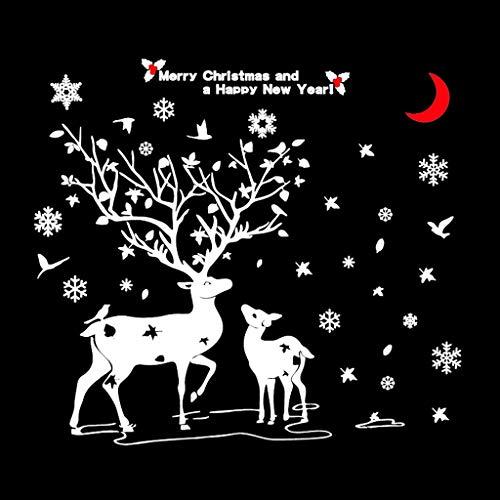 QTHBZ muursticker voor kerst, sneeuw, hert, vetrina