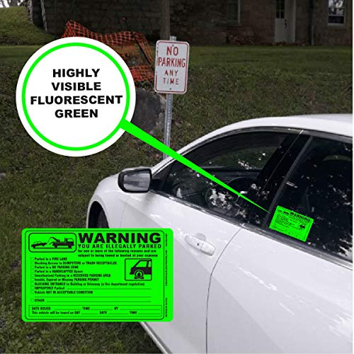 (50) Parking Violation Sticker - Vehicle Illegally Parked Tow Notice - Parking Violation Notice - No Parking Warning Stickers - Scrap to Remove Stickers Neon Green 5.5 x 7.5 - Made in The U.S.A. Photo #5