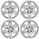 BDK Performance Wheel Covers (4 Pack) of Premium 16' inch Hubcap OEM Replacements for Steel Wheels, High Grade ABS with Retention Ring, Silver