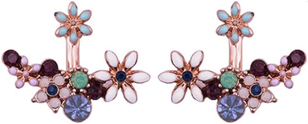 HAPPYAN High-grade Enamel Crystal Flower Clip on Earrings and S925 Drop Earrings for Women Charm Jewelry