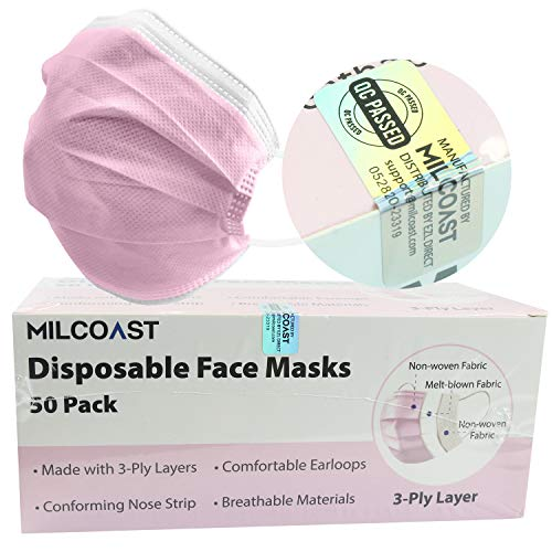 Milcoast Premium Disposable Face Masks Breathable 3-Layer Filter Soft Earloops - 50 Pack Color (Pink)