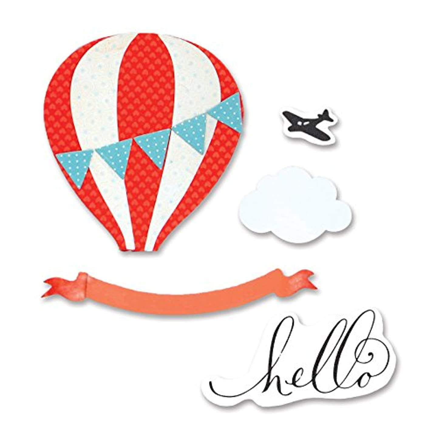 Sizzix 660690 Framelits Hot Air Balloon 9 Die Set with Stamps by Brenda Walton