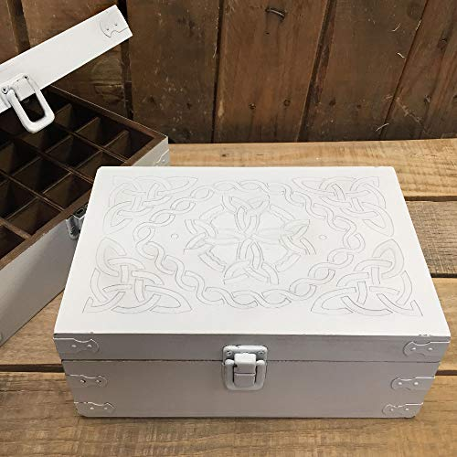 Rustic White Celtic Design Wood Storage Box for 15ml Essential Oil Aromatherapy Bottles by Rivertree Life