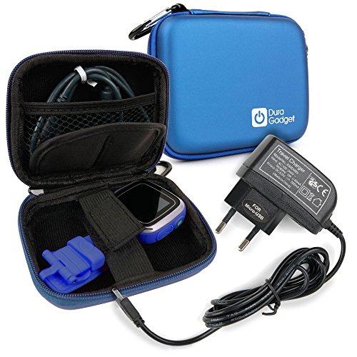DURAGADGET Funda Azul Compatible con Vtech Kidizoom Smartwatch/DX + Cargador MicroUSB + Mini Mosquetón | para Colgarla Donde Desee - Resistente A Golpes