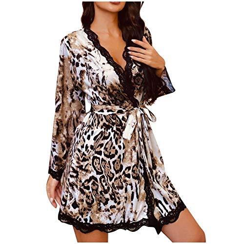 Briskorry Bata para mujer, albornoz corto de satén, kimono con cinturón, camisón de noche, pijamas sexy con encaje y cuello en V