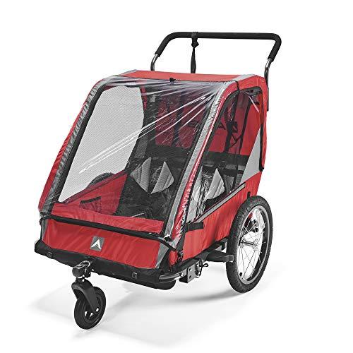 Allen Sports Unisex-Adult ES2-R Fahrradanhänger für 2 Kinder, Multifunktion zum Radfahren und Spazieren, Rot, 2-Child