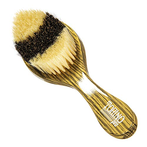 Torino Pro Wave Brush #54- Hybrid Curve Brush With medium and Soft 100% Boar Bristles hair brush - Extra long bristles- Great Curved brush for laying down 360 waves before putting on your durag