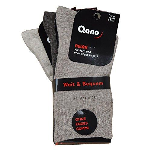 Qano Relax 6er Pack klassische Damen Business & Freizeit Socken ohne enges Gummi Diabetiker geeignet (39-42, braun sortiert)