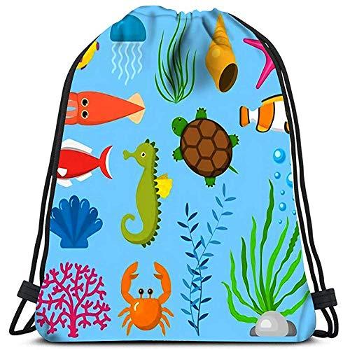 Kordelzug Tragetasche,Set Wasser Lustige Meerestiere Unterwasser Kreaturen Zeichentrickfiguren Shell Aquarium Sealife Modische Tragbare Kordelzug Reisetaschen Für Jugendliche Schule Camping
