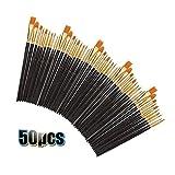 50 PCS del Pelo De Nylon Pinceles Conjunto De La Pintura del Cepillo del Sistema De 50 del PCS De Nylon del Pelo del Cepillo del Sistema Pintura Gouache Pintura Pintura de la Cara (Color : Black)