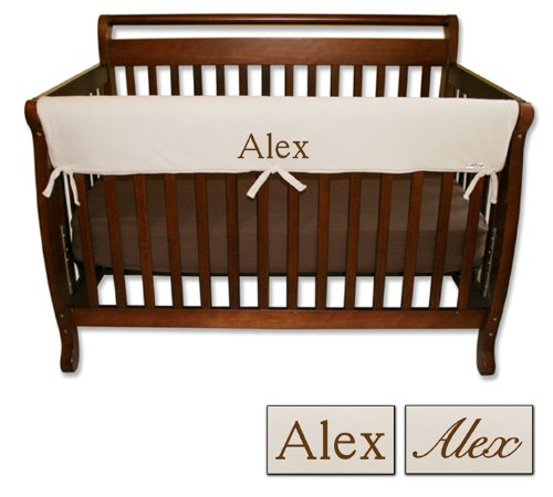 Personalized Embroidered Name Trend Lab Crib Wrap Rail Guard for Long Rail (Natural)