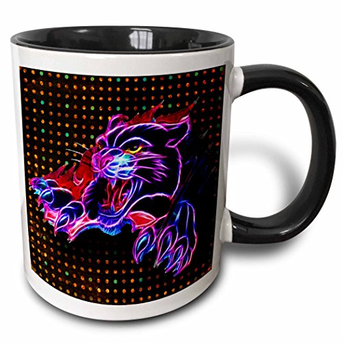 3dRose (taza 150943_ 4) Pantera Negra de neón y neón fondo–taza de dos tonos de negro, 11oz