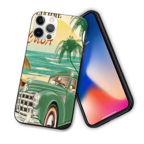 Carcasa para iPhone 12 Series 2020, diseño retro con diseño de palmeras de playa y océano para coche, diseño de funda flexible de TPU para iPhone 12 Pro Max 6.7 pulgadas