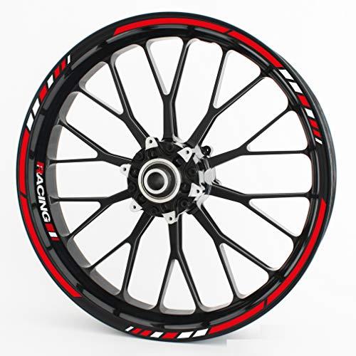 Motoking Adhesivos para Borde de llanta RS - Juego Completo para 15' 16' 17' 18' 19'- Color y Estilo a Elegir