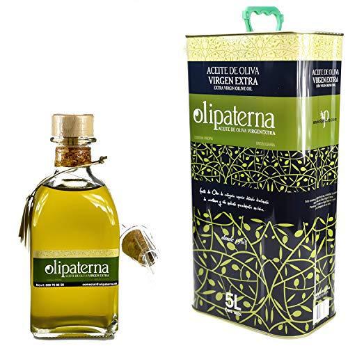 Kaltgepresstes Extra Natives (Virgin) Olivenöl aus Andalusien Olipaterna Säure 0,3 | 100% natürliches & reines Olivenöl für Feinschmecker, 5 L Kanister + 250 ml Flasche