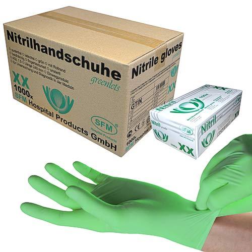 SFM ® GREENLETS Nitril : XS, S, M, L, XL grün puderfrei F-tex Einweghandschuhe Einmalhandschuhe Untersuchungshandschuhe Nitrilhandschuhe XS (1000)