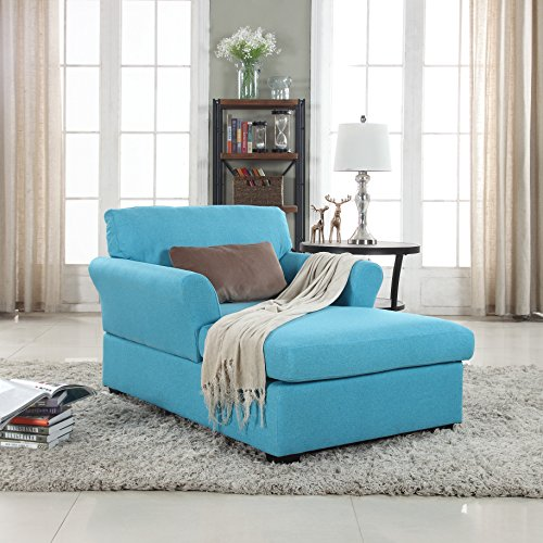 Divano Roma Furniture Large Classic Linen Fabric Living Room Chaise Lounge (Blue)