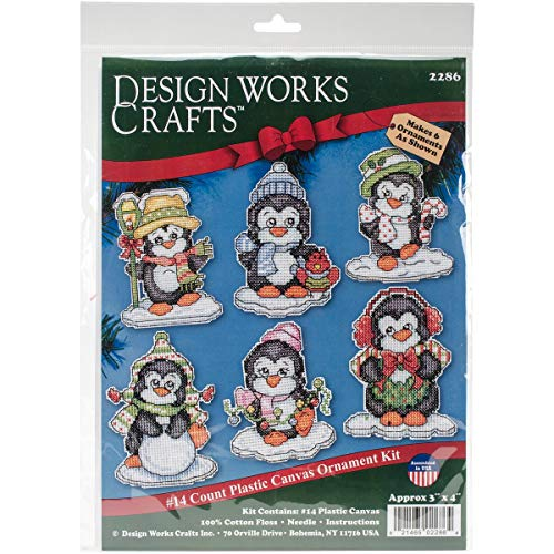 Design Works Crafts, 3-1/2' Each Cross Stitch Ornament Kit, Penguins on Ice