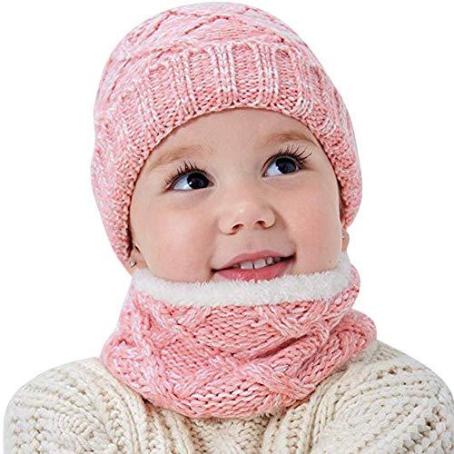 Gebreide muts met sjaal kinderen muts warm wintermuts fleece voering loopsjaal winter gebreid wintersjaal zachte babymuts jongen meisjes slangsjaal sneeuw knit beanie winterset roze