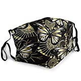 Comfort Polyester Face Mask Adults Boys Girls Windproof Dustproof Face Nose-Shield with Adjustable Earloop for Running, Butterflies And Flowers Golden Black Reusable Mouth Scarf