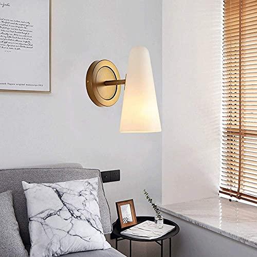 JPL Lámparas de novedad, aplique de pared geométrico moderno Siet, lámpara de pared de metal dorado con pantalla de vidrio blanco, luces de pared para sala de estar, dormitorio, mesita de noche, lámp