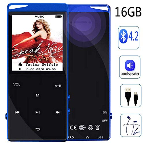 Frehovy 16GB MP3 Player with Bluetooth, Portable Lossless Sound MP3 Music Player with FM Radio Voice Recorder Music Speaker, Support Up to 128 GB with HiFi Headphone