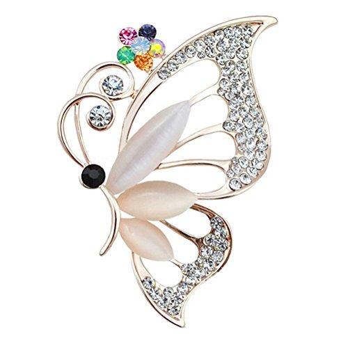 OULII Kristall Strass Schmetterling Brosche Hochzeit Blumenbouquet Brosche (Multicolor)