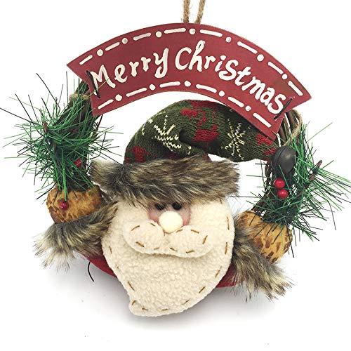B•You Corona de Navidad,Guirnalda Artificial Navidad con Merry Christmas Reutilizable Decoración de Techo de Pared con Papá Noel Puerta Vitrina para la Fiesta de Navidad 22 * 22 * 4cm