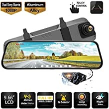 """Rearview Mirror Dash Cam Dual Sony Starvis 1080P Front & Backup Camera 9.66"""" IPS Touch Screen Mirror Camera, G-Sensor, WDR and Night Vision"""