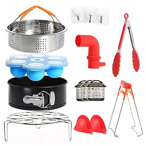Kit de accesorios de 12 piezas para Instant Pot 6/8 QT - Cesta para vaporizador / Estante para huevos / Comidas para huevos Molde / Sartén Springform / Manoplas para horno / 3 Hoja de trucos magnética