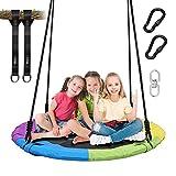 Vanku 300KG Nestschaukel für Kinder Erwachsene Outdoor Garten mit 100cm Sitzflächendurchmesser und belastbaren 2 600KG Schaukel Gurte Bunt