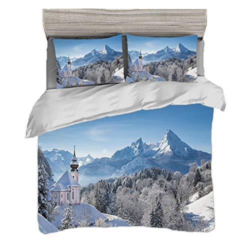 Bettwäscheset (220 x 240cm) mit 2 Kissenbezügen Winter Digitaldruck Bettwäsche Schneebedeckte bayerische Alpen mit Maria Gern mit berühmten Watzmann-Massivszenen aus Deutschland Pflegeleicht antialler