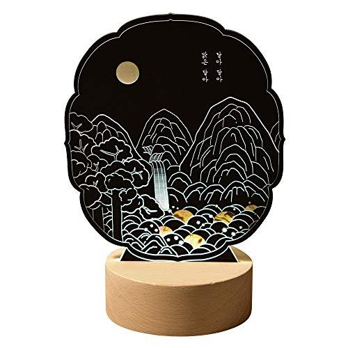 Nacre Art fait à la main Design cascade Lune LED Base en bois Noir Asiatique Décoration de table de chevet Unique Décoration de maison Bureau Chambre à coucher Lampe d'humeur