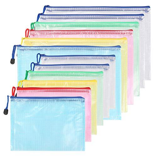 Kasimir Cartelline Plastica 6 Pezzi A5 + 6 Pezzi A4 Sacchetti di File Zipper Sacchetti Cerniera Trasparente Borse di File Impermeabile Mesh Sacchetto del Documento p - 5 Colori