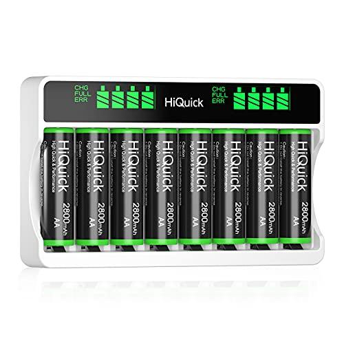 HiQuick Akku Ladegerät mit AA Akku 8 Stück, für Mignon AA, Micro AAA NI-MH wiederaufladbar Batterien, 8-Ladeplatz mit LCD Anzeige