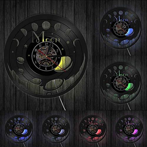 Reloj de Pared 3D Reloj de Pared de Vinilo Vintage Arte de Pared Dormitorio Reloj de Pared silencioso Espacio Luna Decoración del hogar Reloj de Pared de Fase Lunar