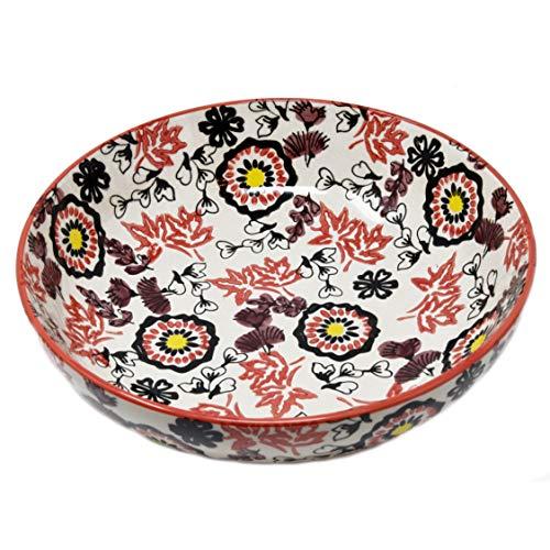 LA VITA VIVA Herbstlich Bunte Salatschüssel und Servierschüssel aus Keramik mit wunderschönem fernöstlichem Blumenmuster auch geeignet als Servierschale, Obstschale, Dekoschale