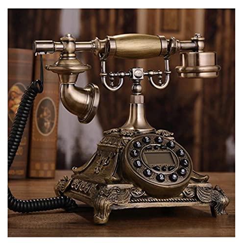 TAIJU-CHENCHEN Imitación de resina Copper Retro Antiguo Dial Rotary Dial Hogar y Teléfono de Oficina Teléfono Retro Home, Teléfono con cable con altavoz y rellamado for el hogar, Teléfono antiguo de d