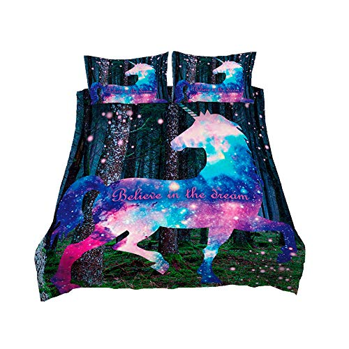 Juego de Cama Unicornio Arcoiris/Galaxia/del Bosque 3D Muchacha,Negro Azul Violeta Funda Nórdica con Funda de Almohada, Poliéster,Cremallera (Unicornio del Bosque, Cama 150 - 220×240)