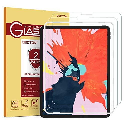 [2 Stück] OMOTON Schutzfolie kompatible mit iPad Pro 12.9 Zoll 2020/2018,9H Festigkeit,Anti-Kratzer,Anti-Öl,Anti-Bläschen, 2,5D R&e Kanten,Face ID möglich,mit Schablone,aktualisiert Version