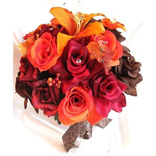 Amazon Com Wedding Bouquets Bridal Silk Flower Burgundy Burnt
